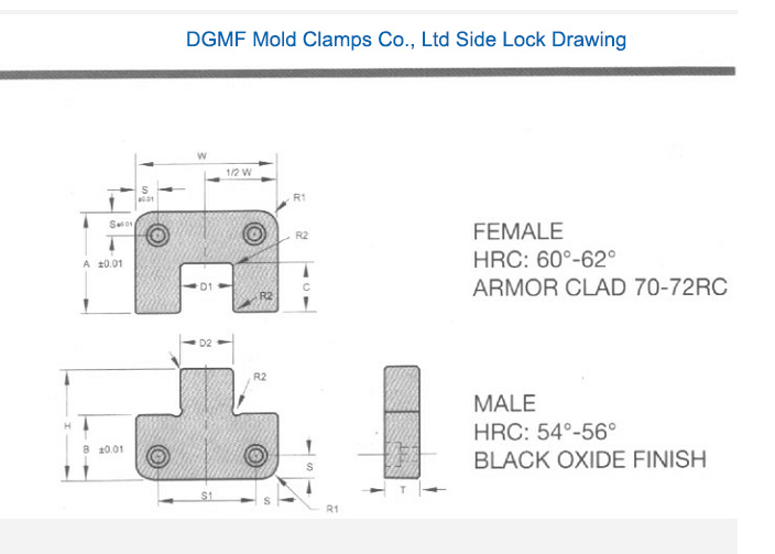 DGMF Mold Clamps Co., Ltd Side Lock Drawing