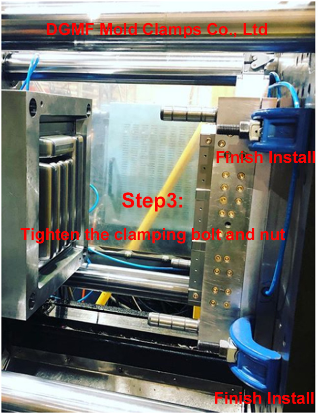 How to install the quick change mold clamps to the injection molding machine -Step3- DGMF Mold Clamps Co., Ltd